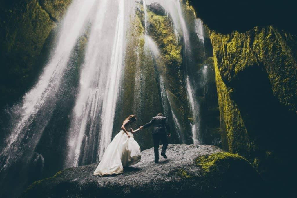 Gljúfrabúi waterfall, south iceland - wedding photo